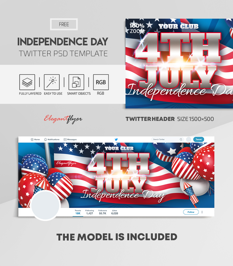 Independence Day – Free Twitter Header PSD Template