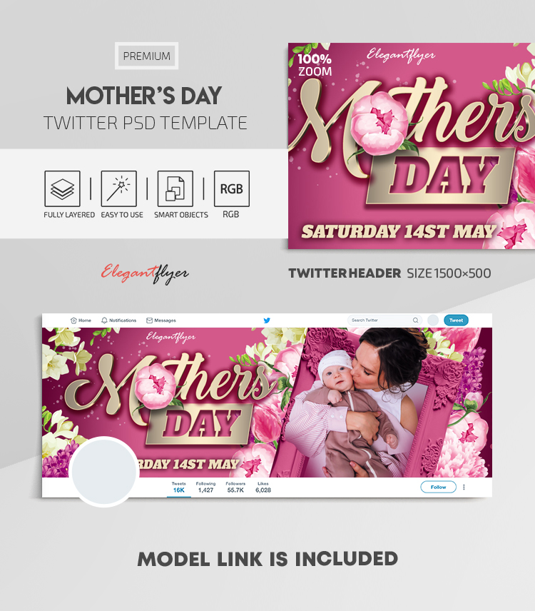 Mother's Day – Twitter Header PSD Template