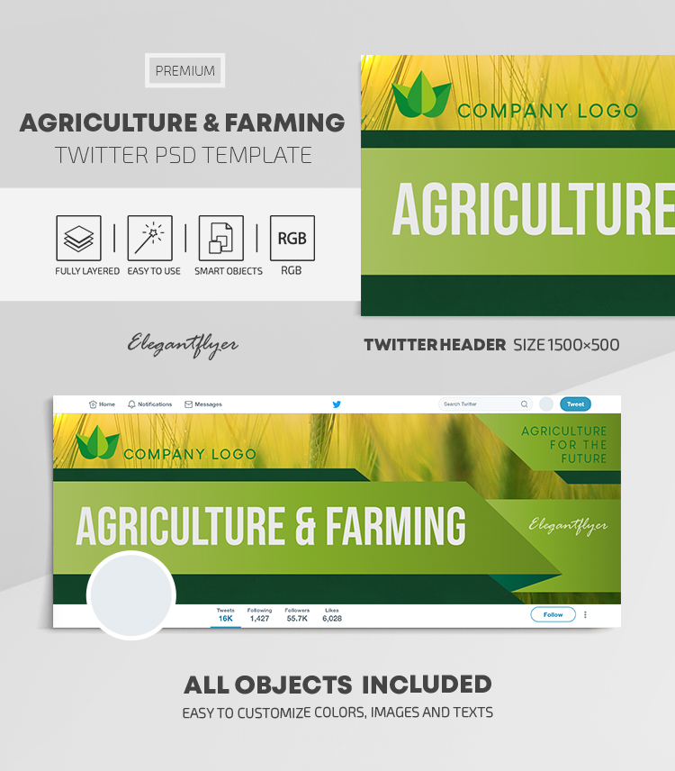 Agriculture and Farming – Twitter Header PSD Template