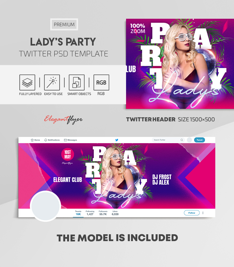 Lady's Party – Twitter Header PSD Template