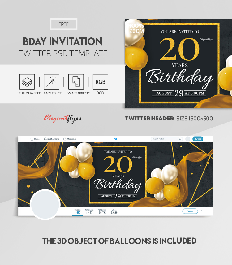 Bday Invitation – Free Twitter Header PSD Template