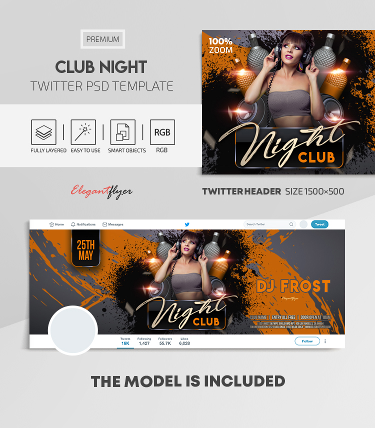 Club Night – Twitter Header PSD Template