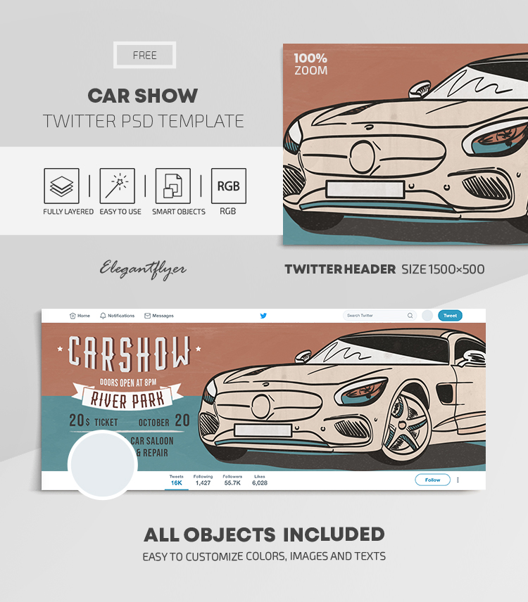 Car Show – Free Twitter Header PSD Template