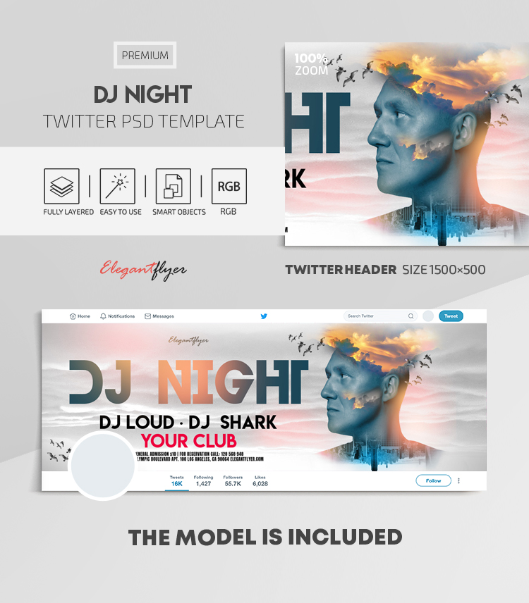 DJ Night – Twitter Header PSD Template