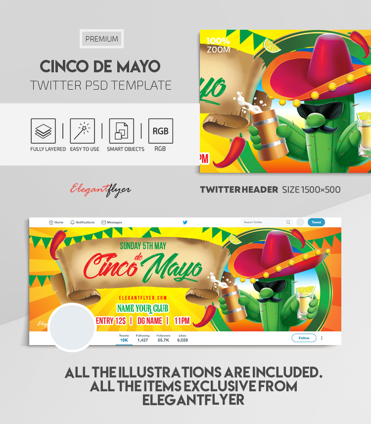 Cinco de Mayo – Twitter Header PSD Template
