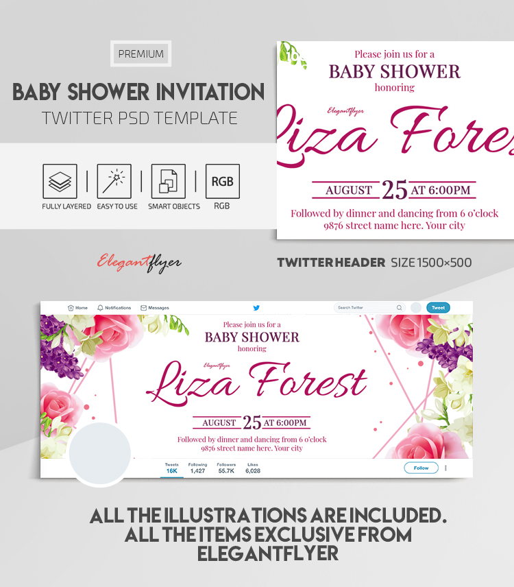 Baby Shower Invitation – Twitter Header PSD Template