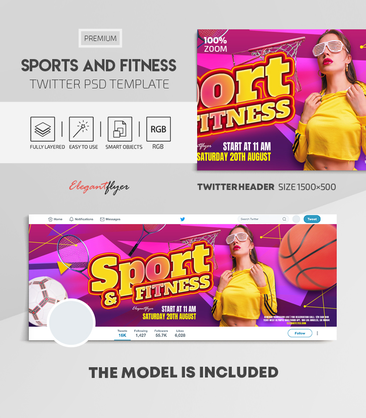 Sports And Fitness – Twitter Header PSD Template