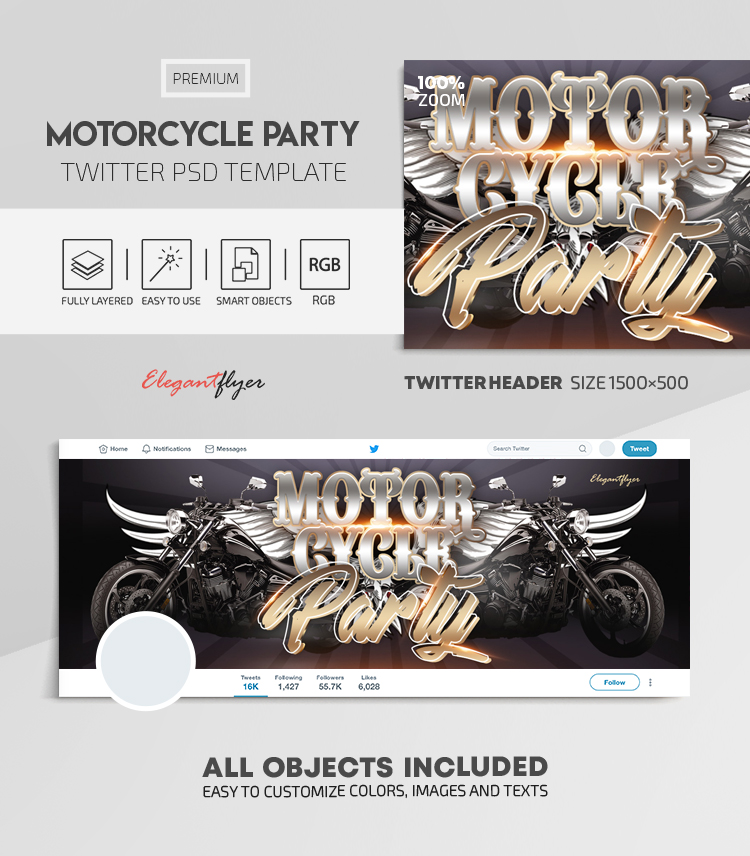 Motorcycle Party – Twitter Header PSD Template