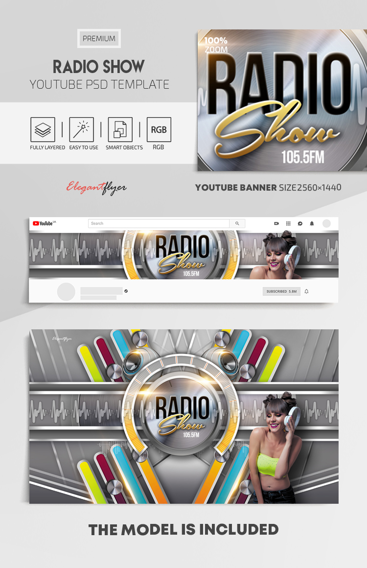 Radio Show – Youtube Channel banner PSD Template