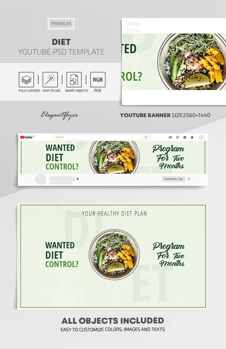 Diet – Youtube Channel Banner PSD Template