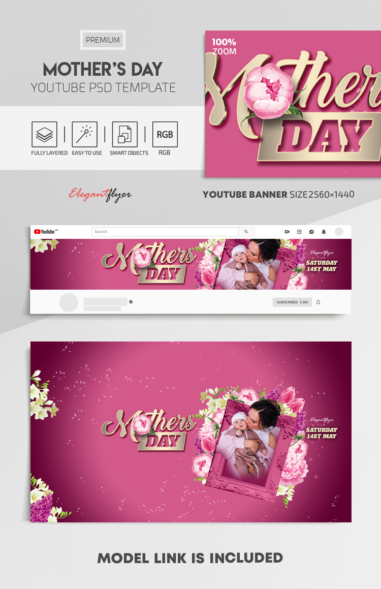 Mother's Day – Youtube Channel banner PSD Template