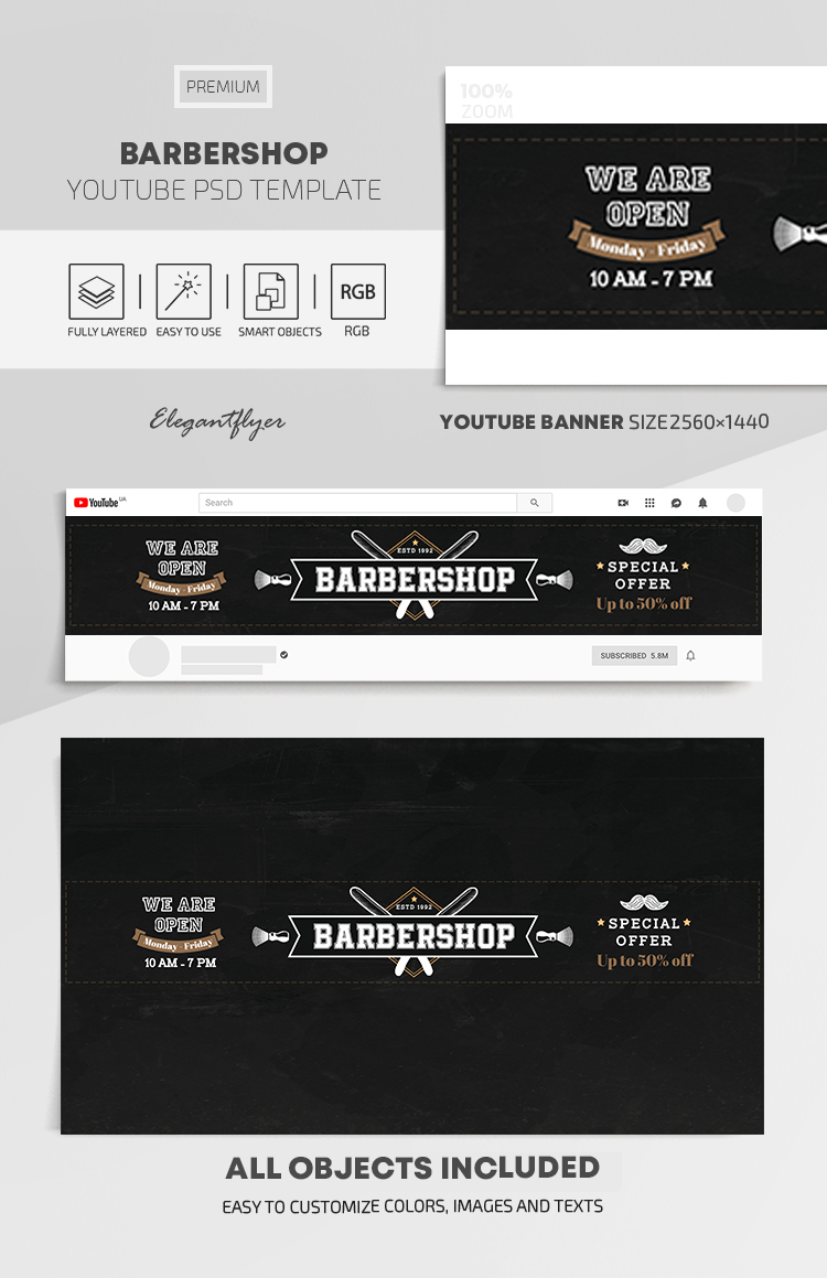 Barbershop – Youtube Channel banner PSD Template