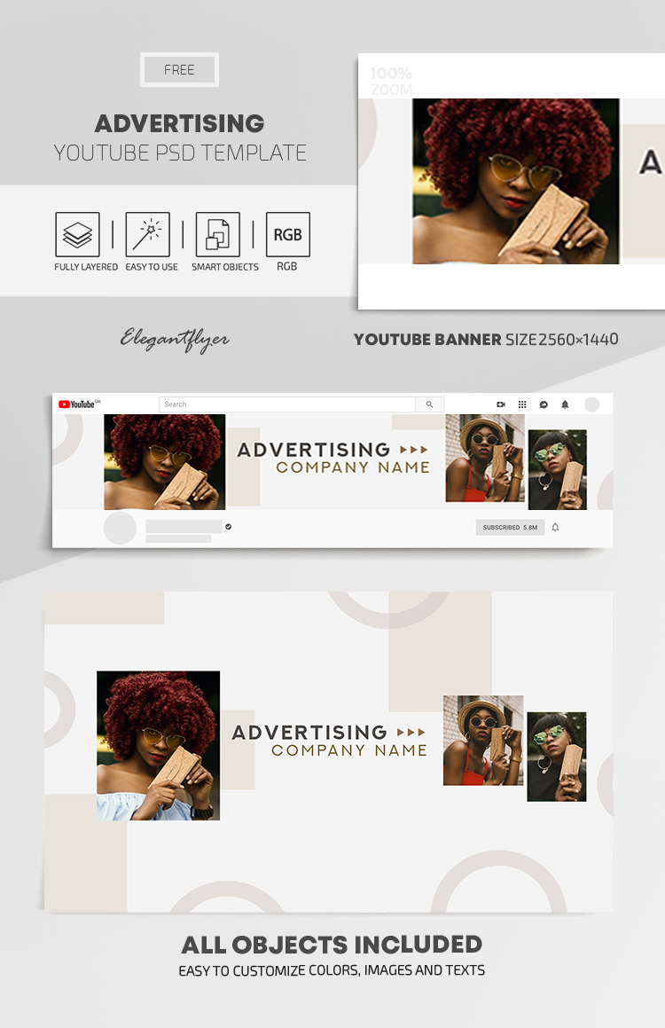 Advertising – Free Youtube Channel banner PSD Template