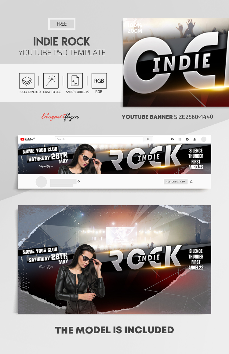Indie Rock – Free Youtube Channel banner PSD Template