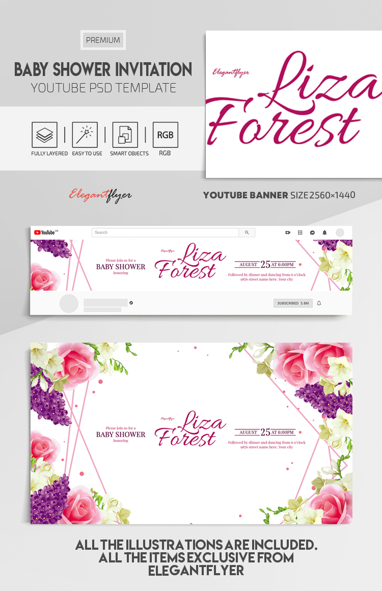 Baby Shower Invitation – Youtube Channel banner PSD Template