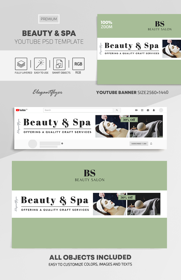 Beauty and Spa – Youtube Channel Banner PSD Template
