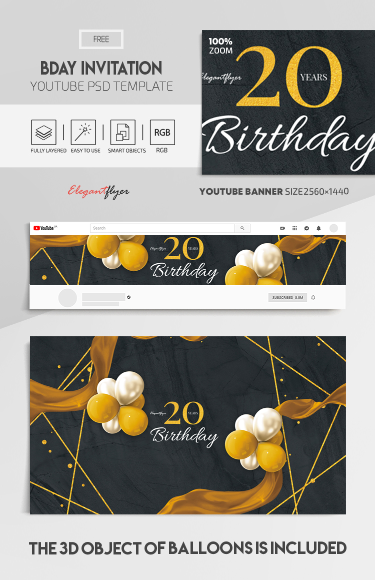 Bday Invitation – Free Youtube Channel banner PSD Template