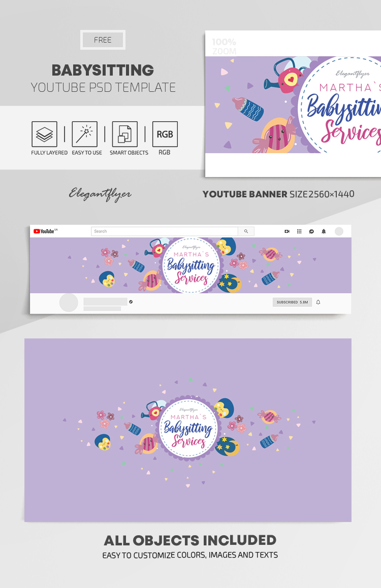 Babysitting – Free Youtube Channel banner PSD Template