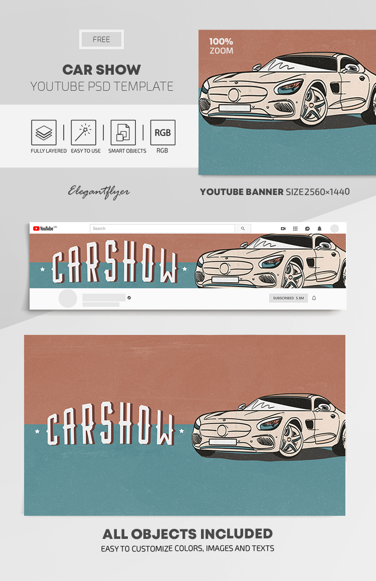 Car Show – Free Youtube Channel banner PSD Template