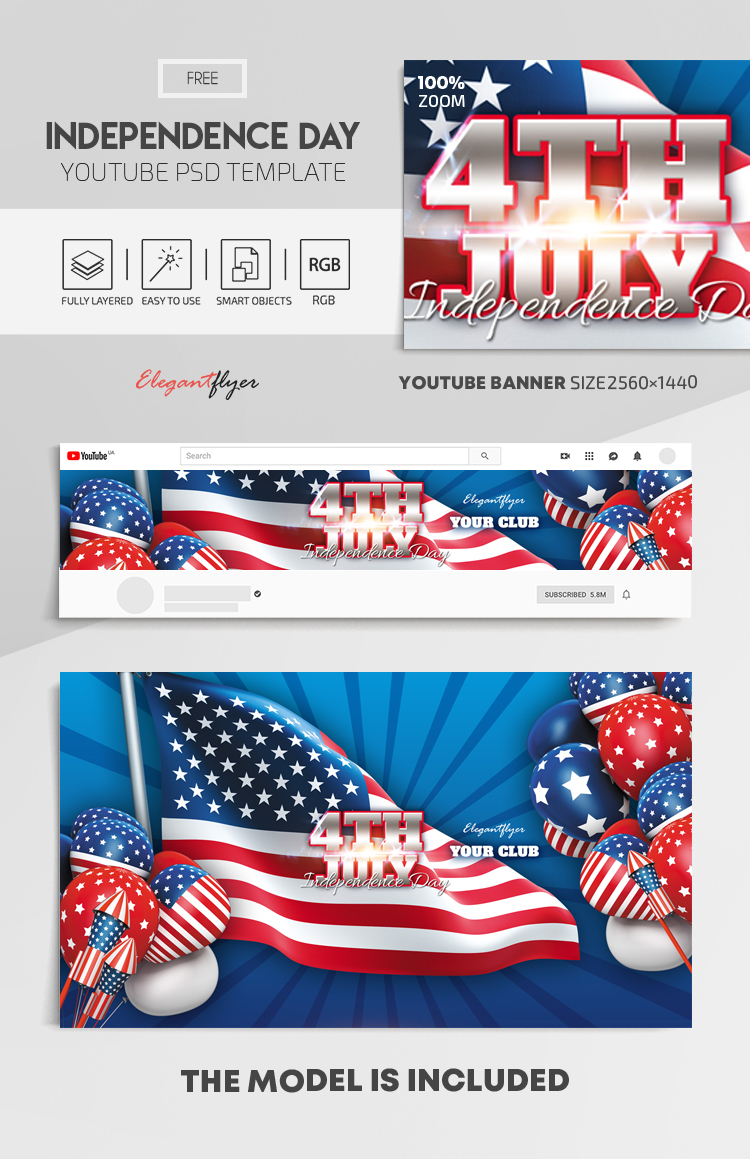 Independence Day – Free Youtube Channel banner PSD Template
