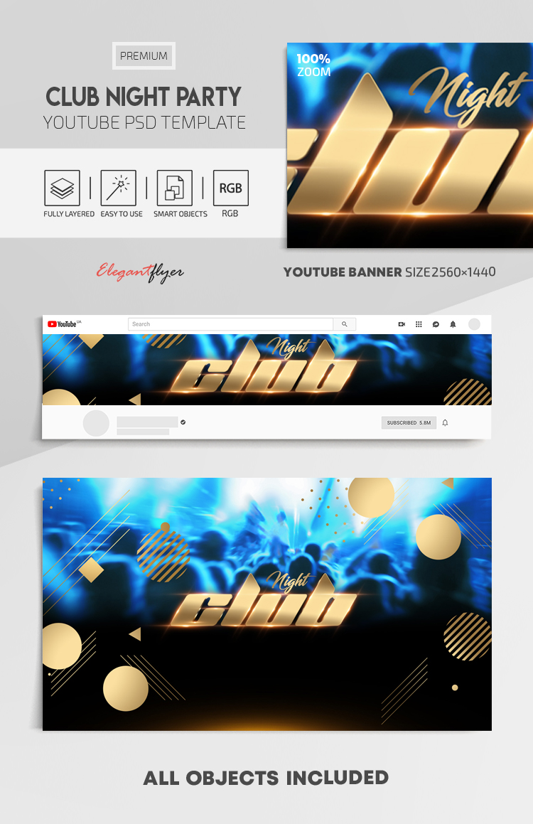 Club Night Party – Youtube Channel banner PSD Template