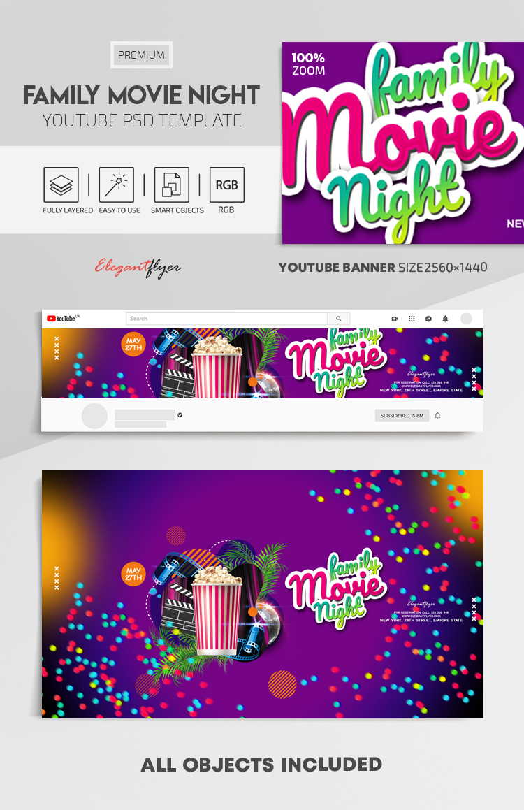 Family Movie Night – Youtube Channel banner PSD Template