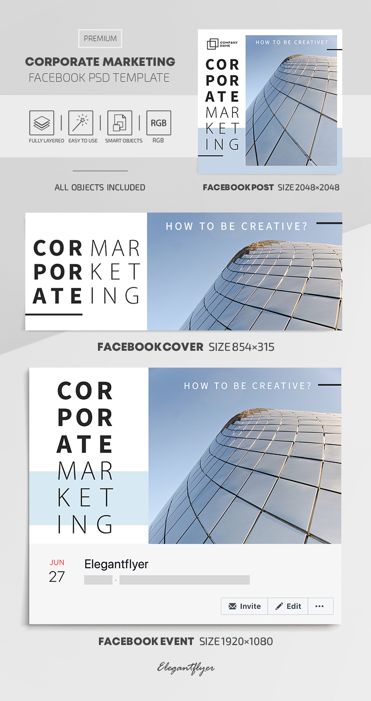 Corporate Marketing – Facebook Cover Template in PSD + Post + Event cover