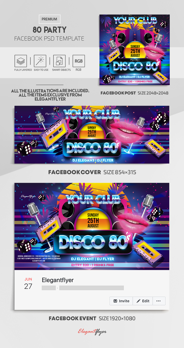 Disco 80 – Facebook Cover Template in PSD + Post + Event cover