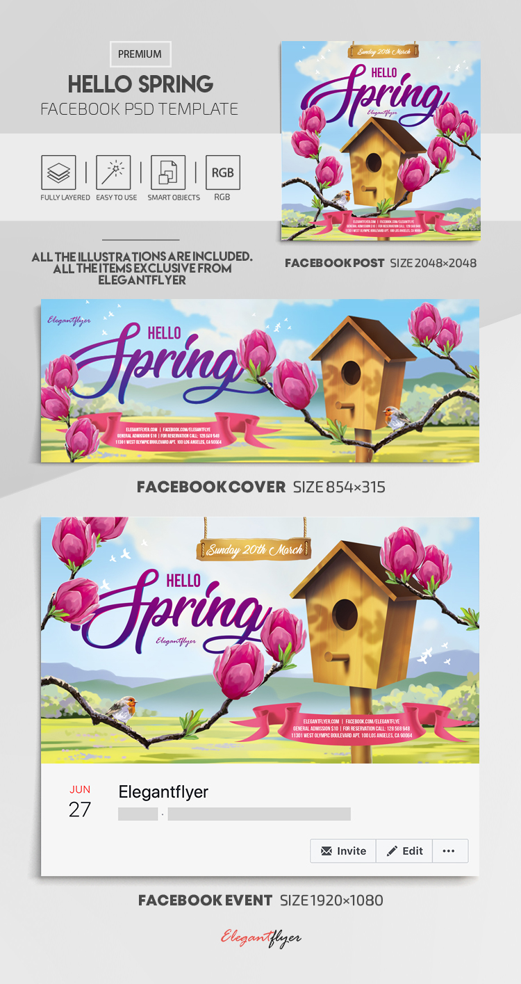 Hello Spring – Facebook Cover Template in PSD + Post + Event cover