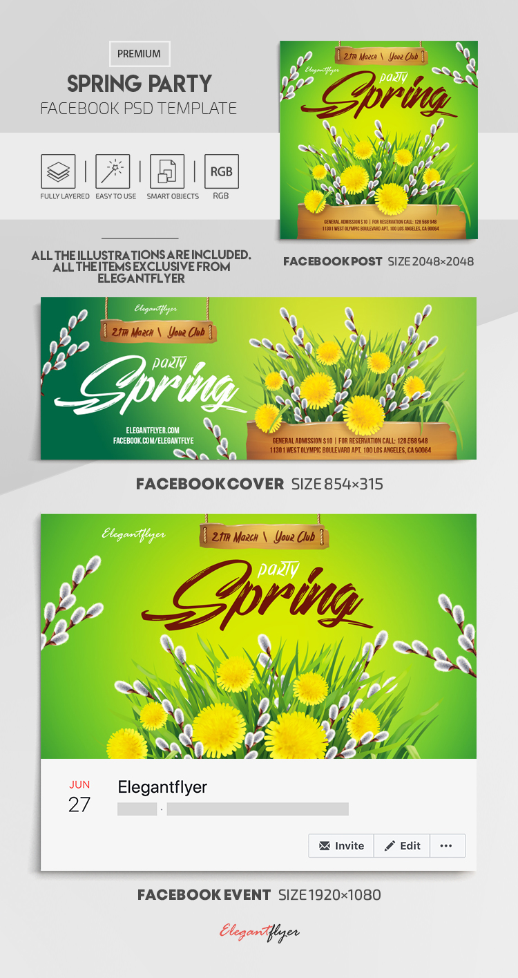Spring Party – Facebook Cover Template in PSD + Post + Event cover