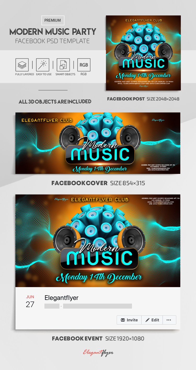 Modern Music Party – Facebook Cover Template in PSD + Post + Event cover
