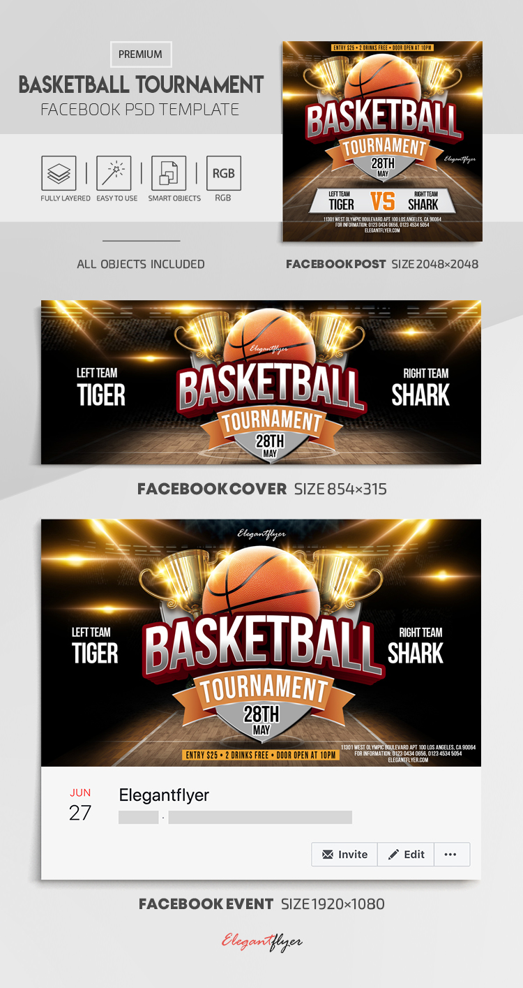 Basketball Tournament – Facebook Cover Template in PSD + Post + Event cover