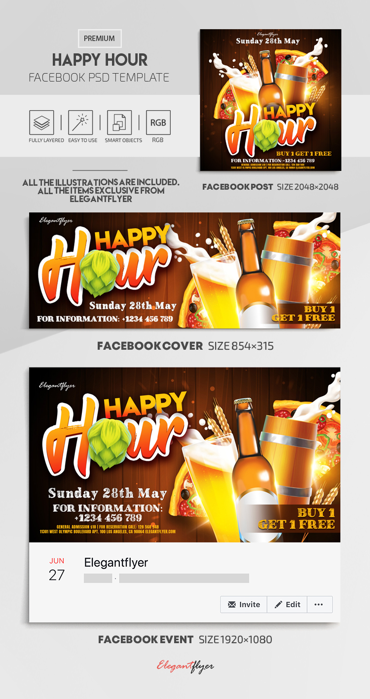 Happy Hour – Facebook Cover Template in PSD + Post + Event cover