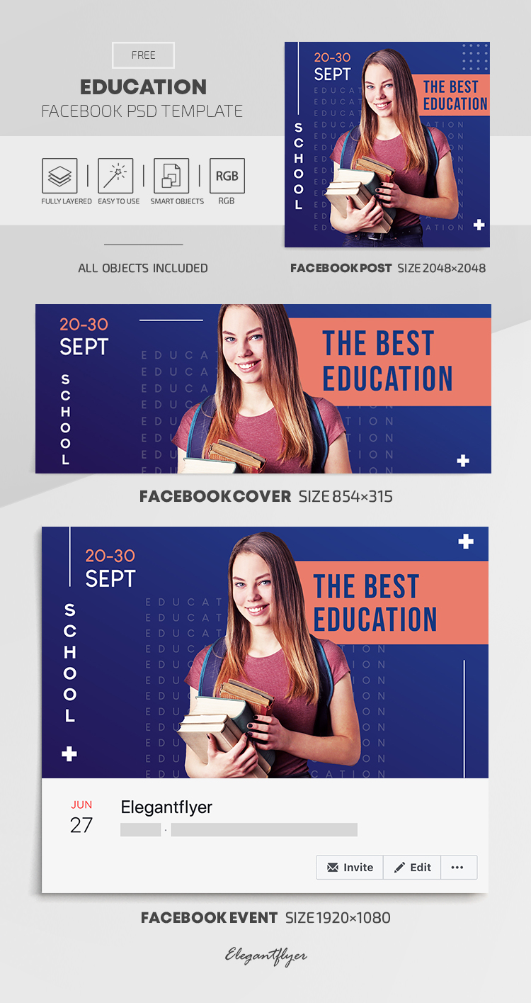 Education – Free Facebook Cover Template in PSD + Post + Event cover
