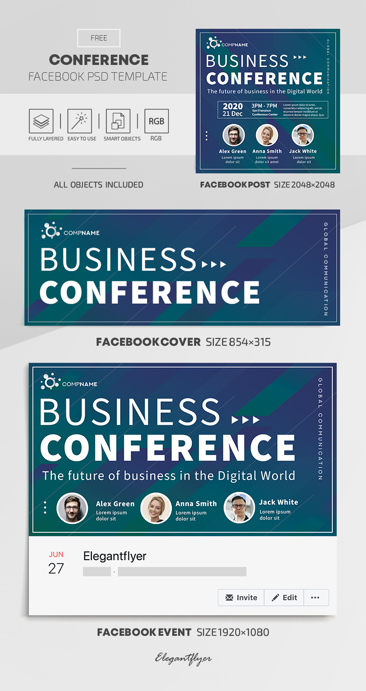 Conference  – Free Facebook Cover Template in PSD + Post + Event cover