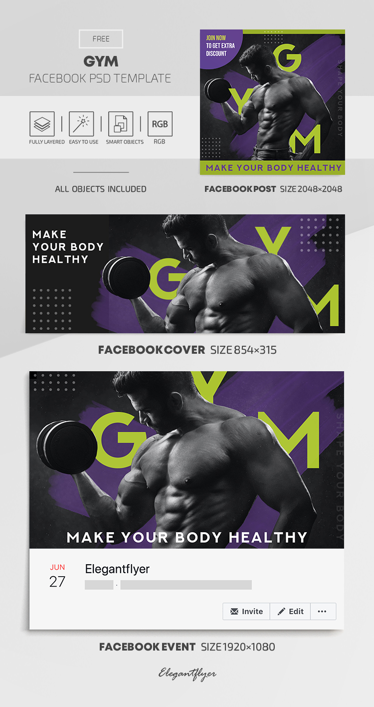 GYM – Free Facebook Cover Template in PSD + Post + Event Cover