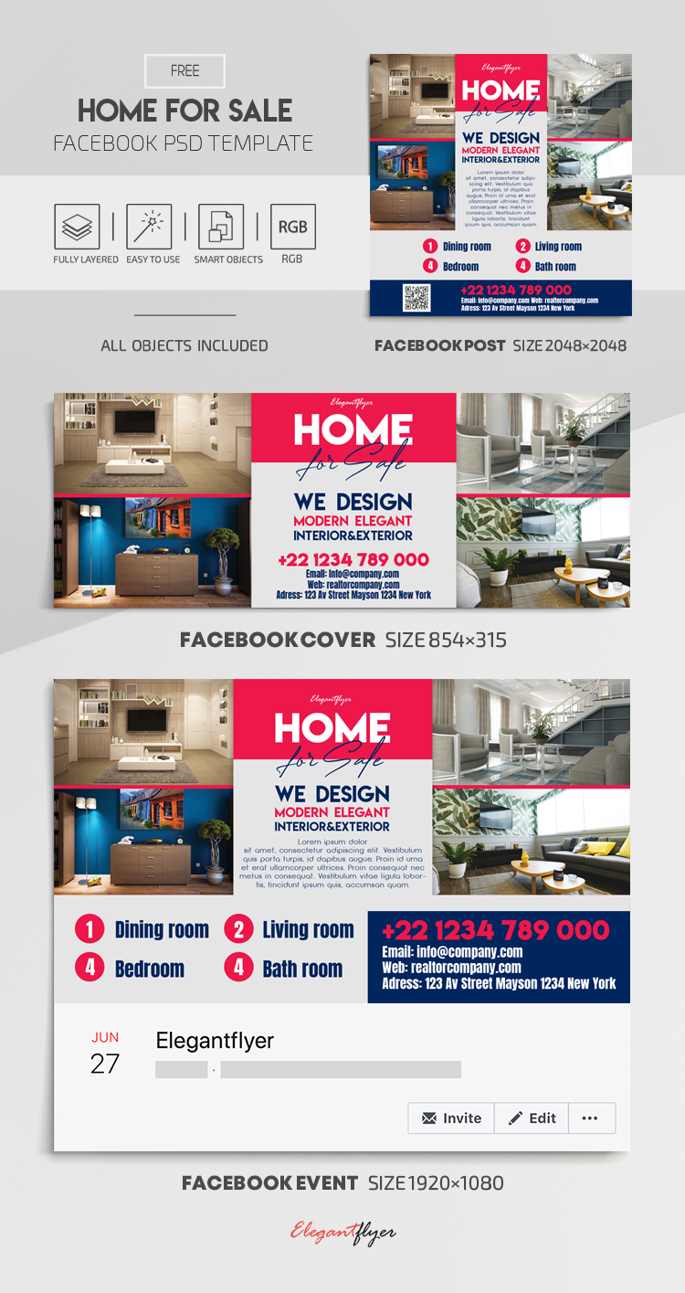 Home For Sale – Free Facebook Cover Template in PSD + Post + Event cover