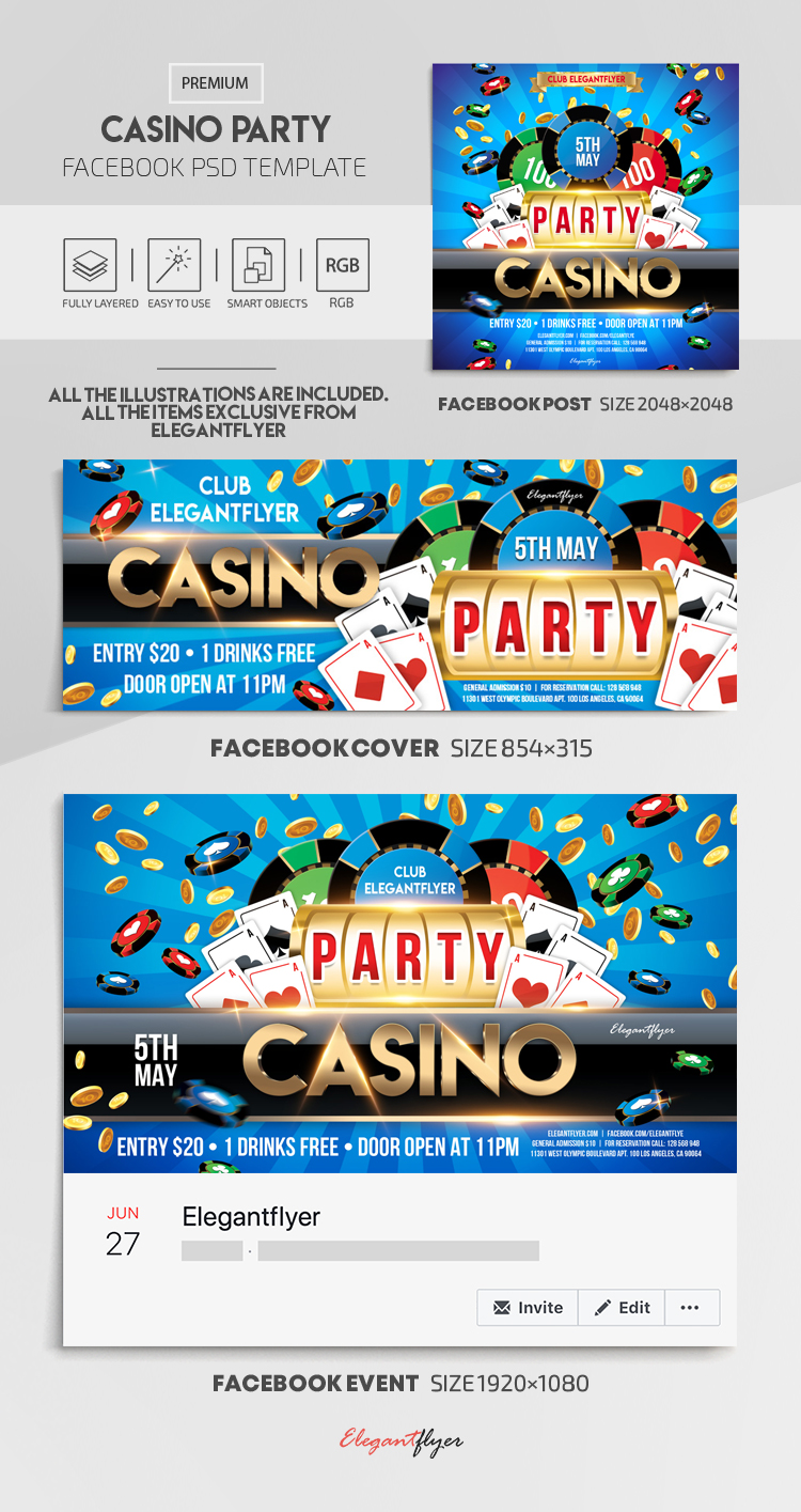 Casino Party – Facebook Cover Template in PSD + Post + Event cover