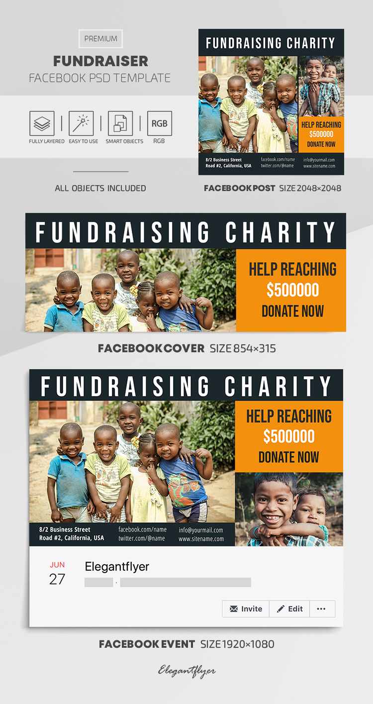 Fundraiser – Facebook Cover Template in PSD + Post + Event cover