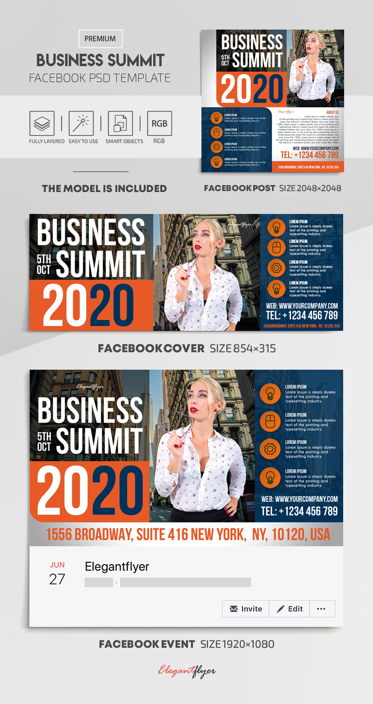Business Summit – Facebook Cover Template in PSD + Post + Event cover