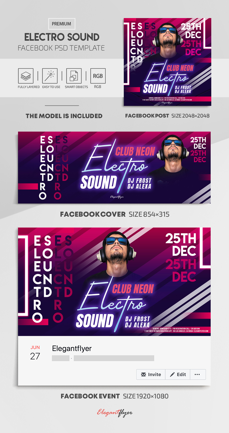 Electro Sound – Facebook Cover Template in PSD + Post + Event cover