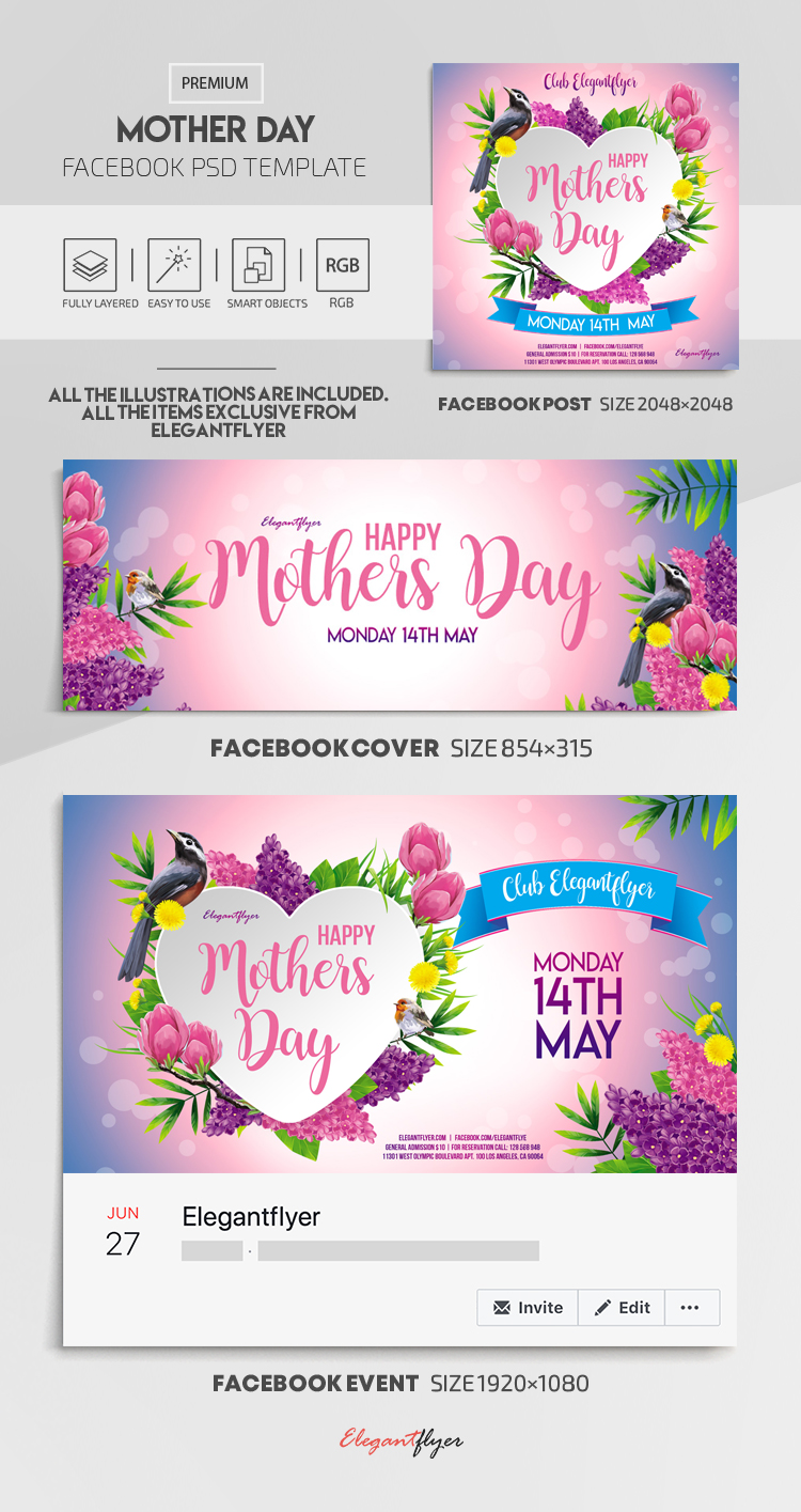 Mother Day – Facebook Cover Template in PSD + Post + Event cover