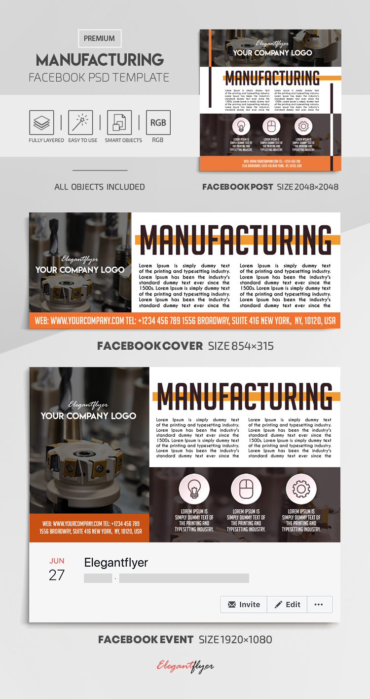Manufacturing – Facebook Cover Template in PSD + Post + Event cover