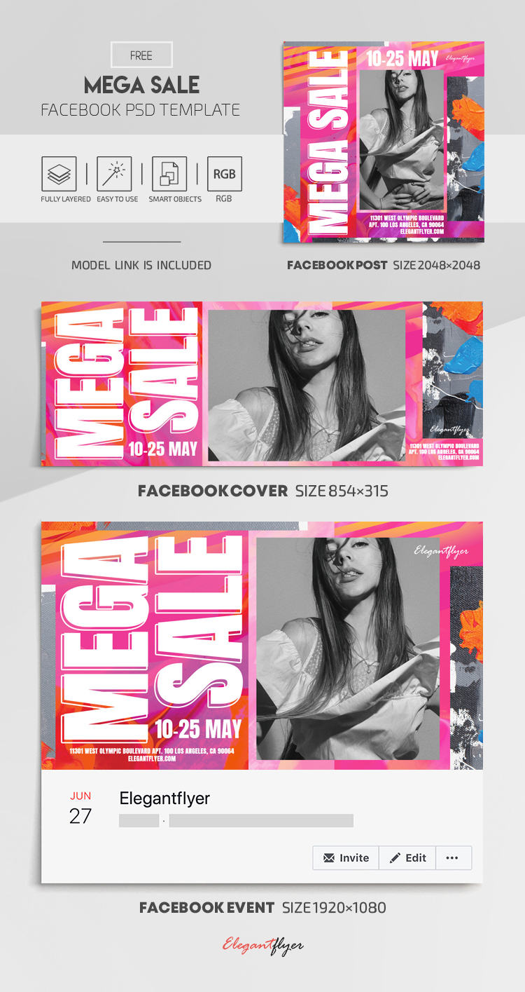Mega Sale – Free Facebook Cover Template in PSD + Post + Event cover