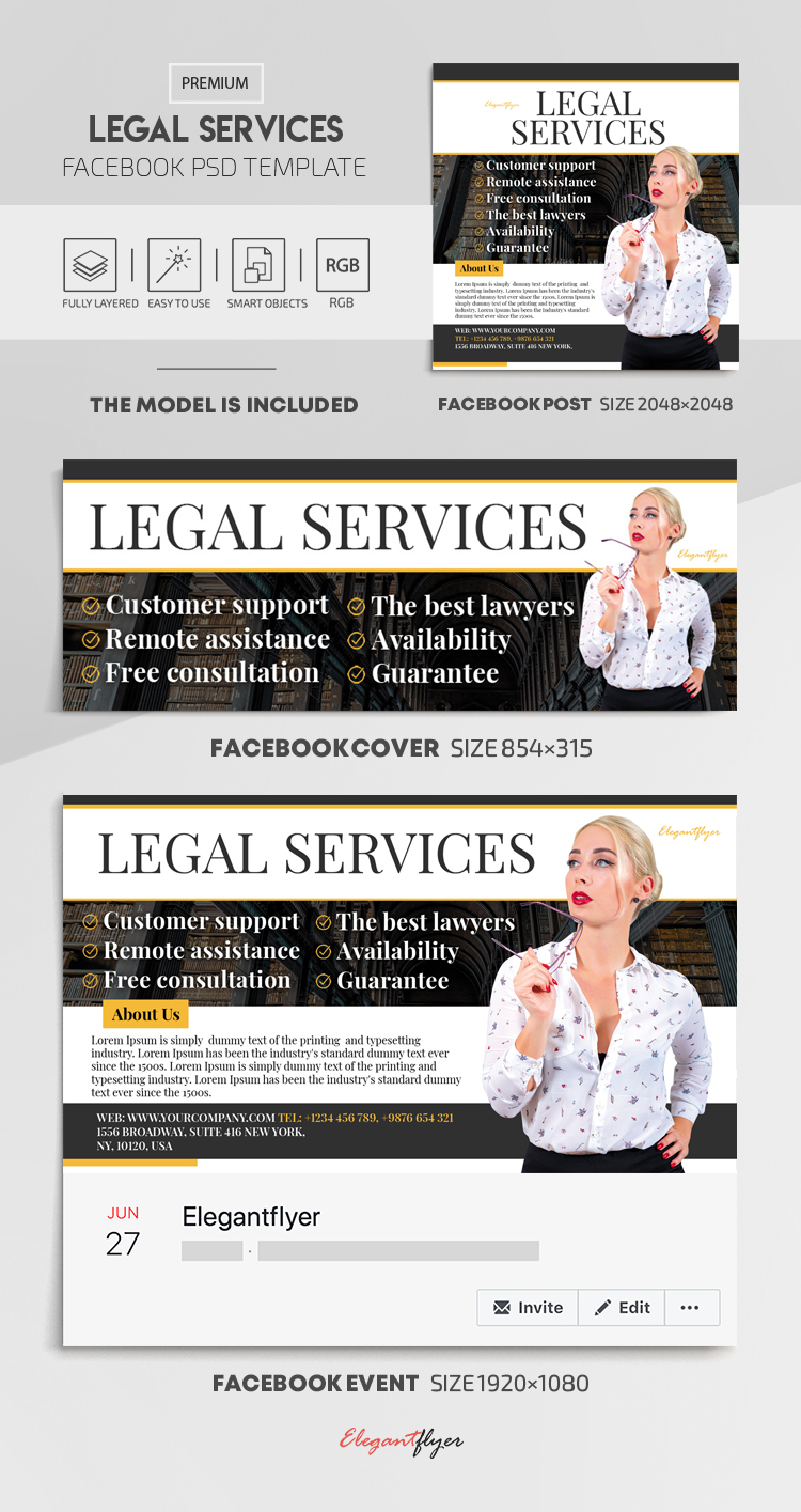 Legal Services – Facebook Cover Template in PSD + Post + Event cover