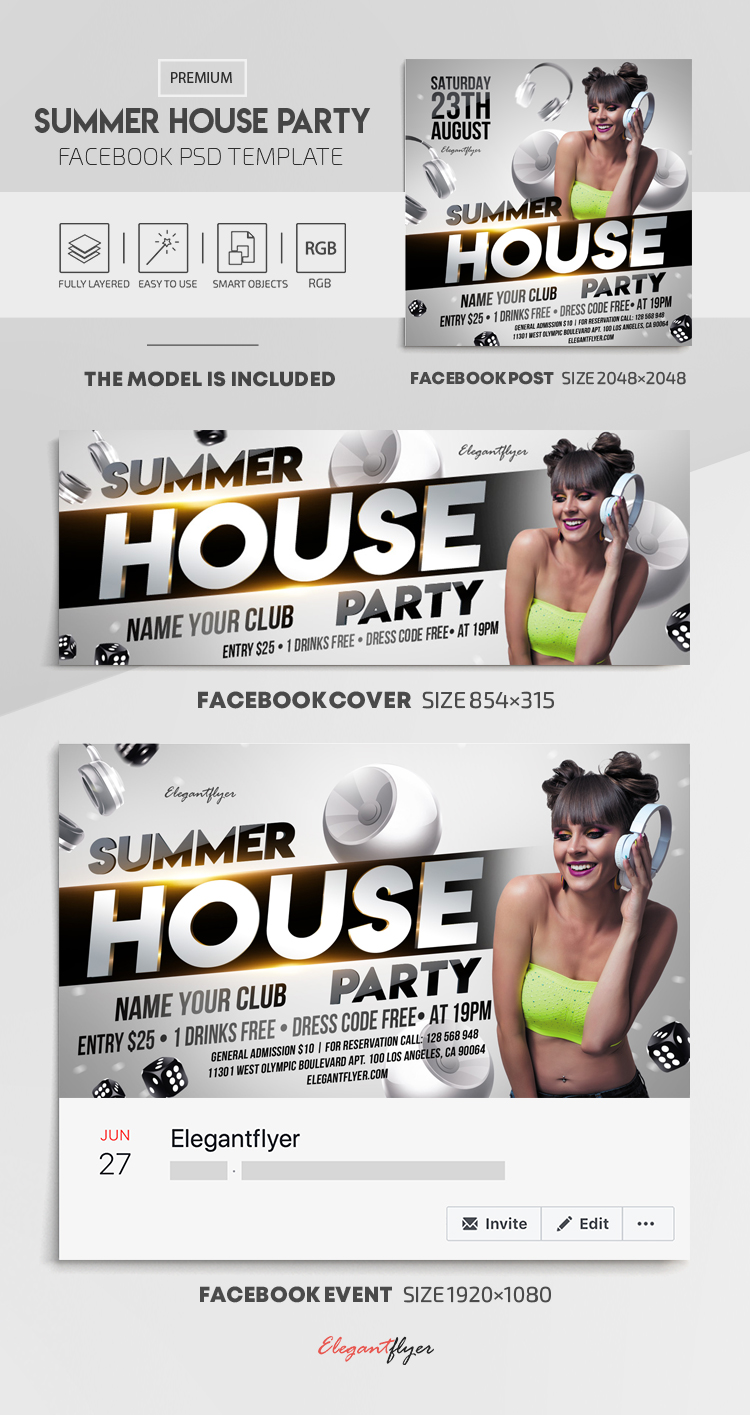 Summer House Party – Facebook Cover Template in PSD + Post + Event cover