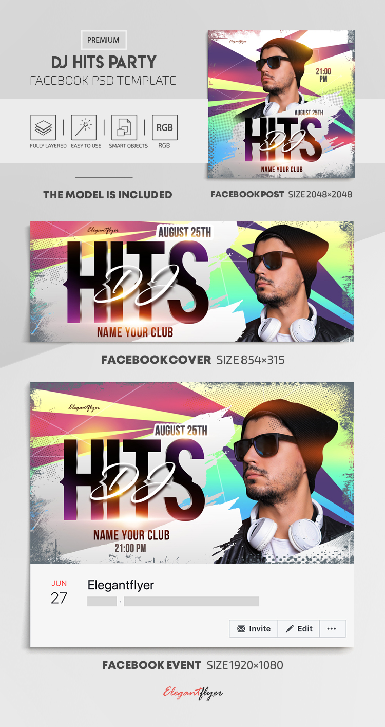 Dj Hits Party – Facebook Cover Template in PSD + Post + Event cover