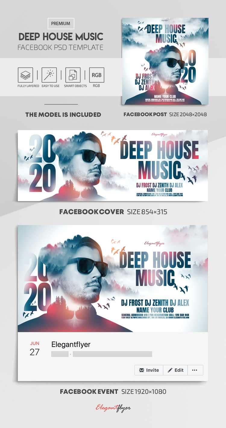 Deep House Music – Facebook Cover Template in PSD + Post + Event cover