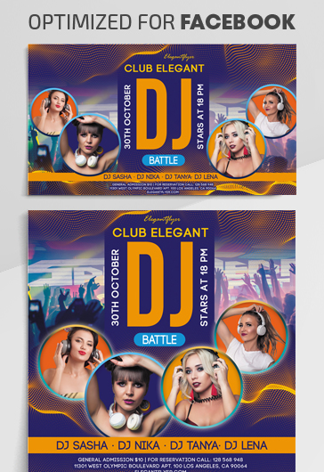 DJ Battle – Facebook Cover Template in PSD + Post + Event cover – by ElegantFlyer