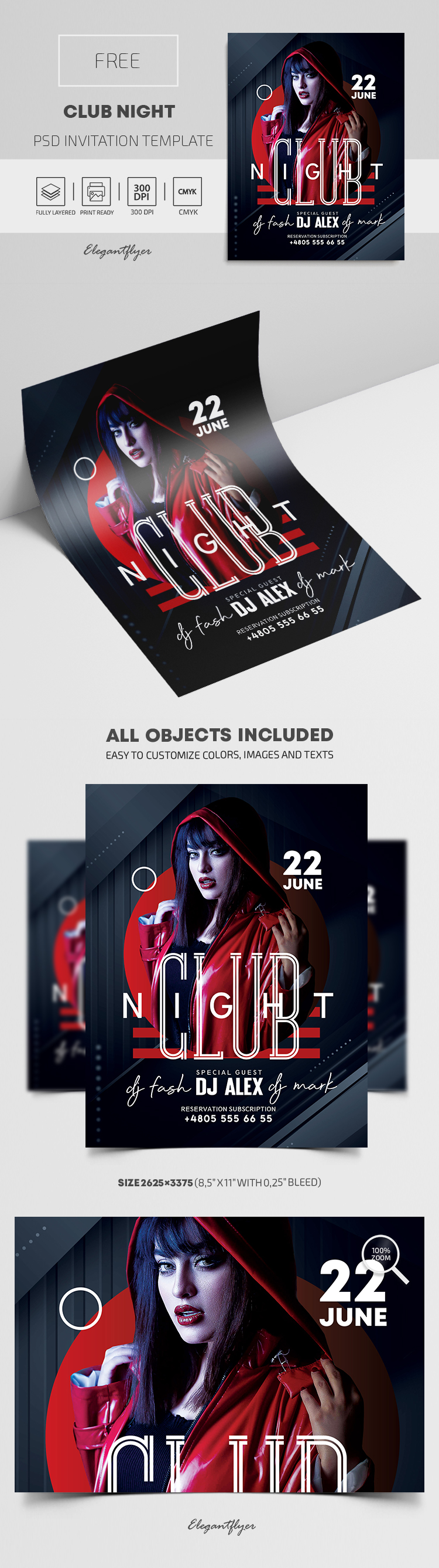Club Night – Free PSD Invitation Template